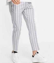 Stripe Pants in Grey and White
