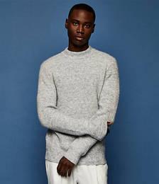 Fluffy Turtleneck Knitted Jumper in Grey