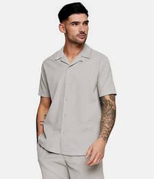 Short Sleeve Micro Cord Shirt in Grey