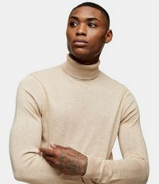 Knitted Roll-neck Jumper in Stone Marle
