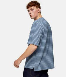 Brushed Stripe T-shirt in Blue