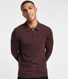 Organic Long-sleeved Knitted Polo with Zip in Burgundy