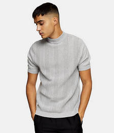 Stitch Turtle Neck Knitted Top in Grey