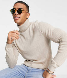 Organic Knitted Marl Roll Neck Jumper in Stone