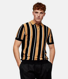 Stripe Knitted Polo in Black and Camel