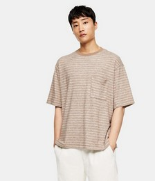 Brushed Stripe T-shirt in Oat