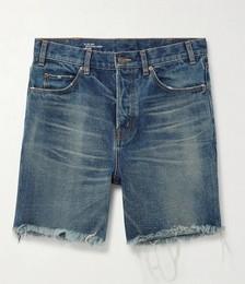 Wide-Leg Distressed Denim Shorts