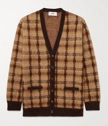 Oversized Checked Intarsia Textured-Knit Cardigan