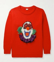 Oversized Sequin-Embellished Intarsia Wool Sweater