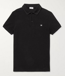 Triomphe Embroidered Studded Cotton-Piqué Polo Shirt