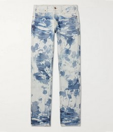 Slim-Fit Low-Rise Bleached Camouflage Denim Jeans