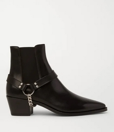 Chain-Embellished Leather Chelsea Boots
