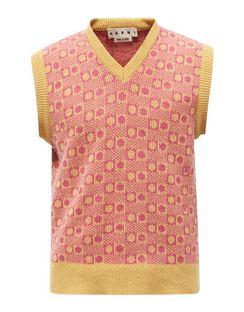 V-neck Geometric-jacquard Wool Sleeveless Sweater