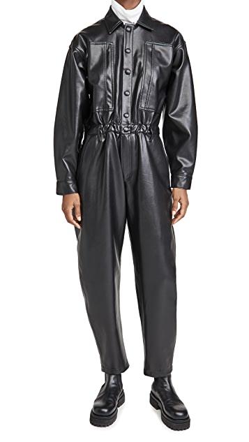Vegan Leather 80's Waisted Jumpsuit