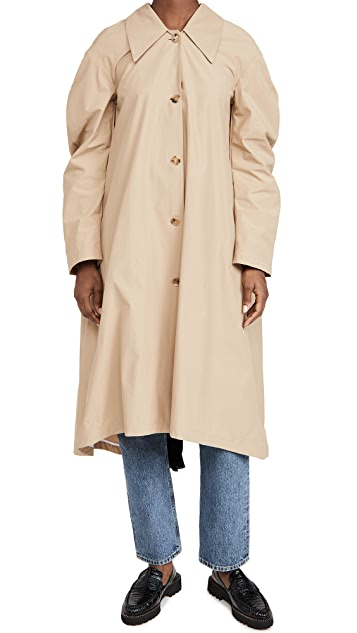 Trench with Pleated Back Inset