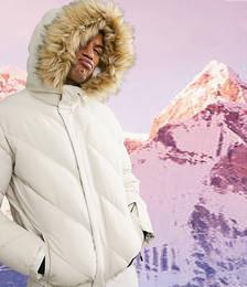 Padded Ski Jacket with Faux Fur Trim