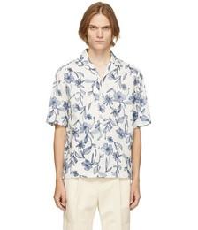 White & Blue Floral Short Sleeve Shirt