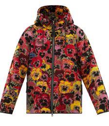 Pansy-print Hooded Fleece Jacket