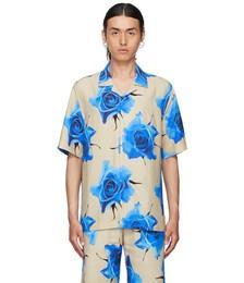 Beige & Blue Monarch Rose Short Sleeve Shirt