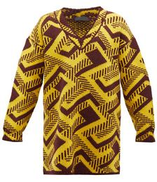 Oversized Geometric-jacquard Virgin Wool Sweater