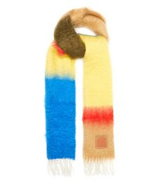Anagram-patch Striped Mohair-blend Scarf