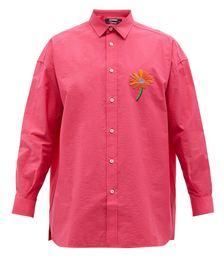 Floral-appliqué Cotton-blend Poplin Shirt