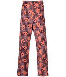 Floral-print Slim-cut Trousers