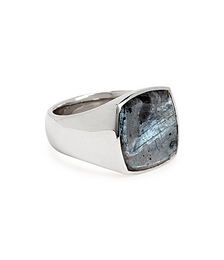 Cushion Larvikite Sterling Silver Ring
