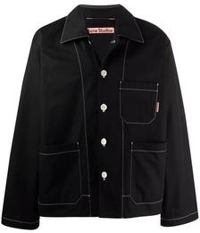 Contrast-stitching Shirt Jacket