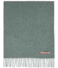 Green Wool Narrow Scarf