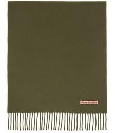 Khaki Wool Narrow Scarf