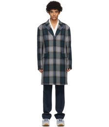 Navy & Grey Wool Blend Coat