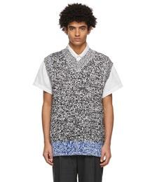 White & Black Chunky Sweater Vest