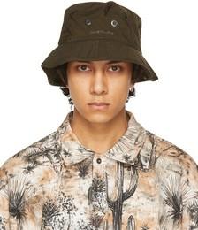 Khaki Nylon Logo Bucket Hat