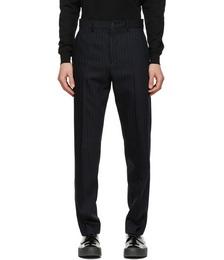 Navy Wool Pinstripe Trousers