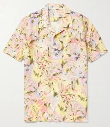 Camp-Collar Floral-Print Linen Shirt