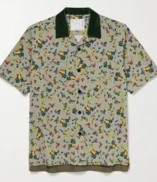 Camp-Collar Velvet-Trimmed Floral-Print Cotton-Corduroy Shirt