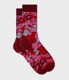 Burgundy 'Archive Floral' Socks