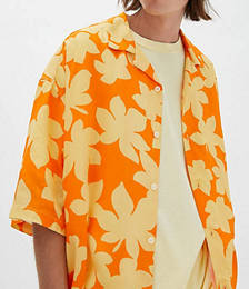Printed Shirt in Yellow and Orange Floral