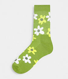 Green Floral 2-pack Ankle Sock