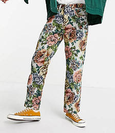 Woven Vintage Floral Skate Jeans in Multi