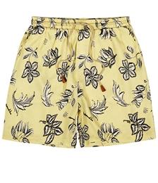 Doxxi Yellow Floral-print Satin Shorts