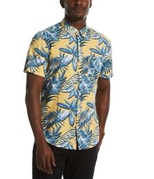 Men's Leaf Print Button-Down Shirt