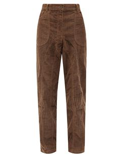 Striped Upcycled-corduroy Straight-leg Trousers