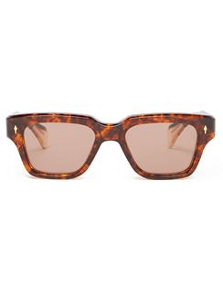 Fellini Square Tortoiseshell Acetate Sunglasses