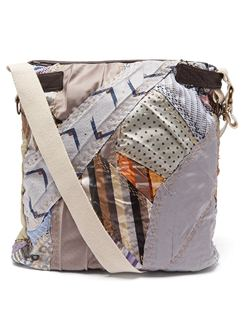 Panelled Silk and Wool Cross-body Bag