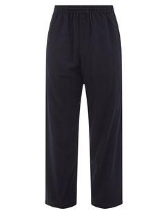 Elasticated Wool-blend Straight-leg Trousers