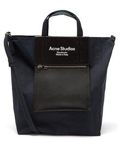 Leather-panel Medium Canvas Tote Bag