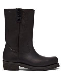 Flat Toe Leather Boots