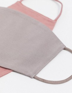 2 Pack Face Covering in Grey and Dusky Pink